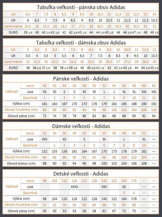 00c40b1b14a Velikostní tabulka Adidas