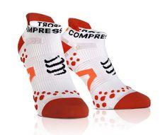 COMPRESSPORT LO bílo/červené ponožky Run v2.1