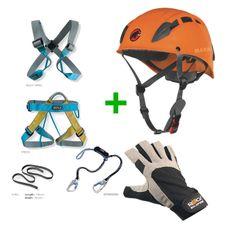 Set Rock Empire Ferrata Max Set + Horolezecká prilba Mammut Skywalker 2 + Rukavice Rock Empire Rock Gloves